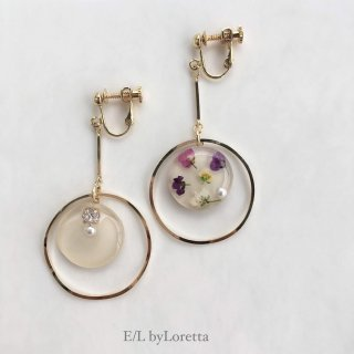 Asymmetry flower bijou pierce/earring(Ivory)