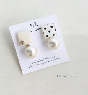 Dot square pearl pierce/earring(White)