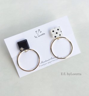 2way dot hoop pierce/earring(Black)