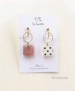 Asymmetry Dot hoop pierce/earring(Pink)