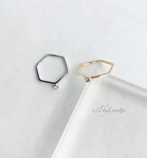 Crystal 6角 Ring