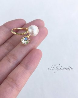 Cotton pearl × crystal Ring(Luminous green)
