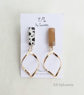Asymmetry Animal twist hoop pierce/earring(Mustard)