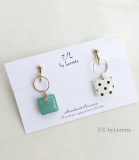Asymmetry Dot hoop pierce/earring(Mint)