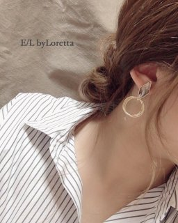 Marble triple hoop pierce/earring(Gray)