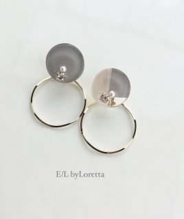 2way 3color hoop pierce/earring(Beige)