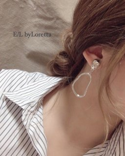Silver oval pierce/earring