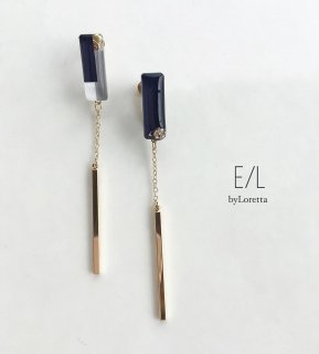 3color stick pierce/earring(Navy)