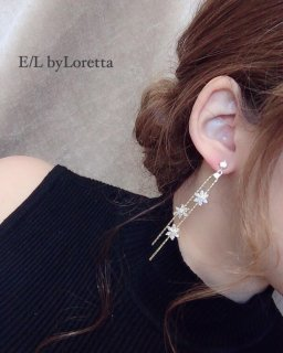 Crystal flower chain pierce/earring(Gold)