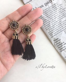 Crystal tassel pierce(Black)