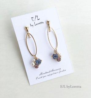 Bijou oval hoop pierce/earring(Light sapphire)