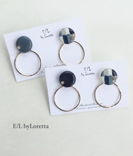 (全2色)2way Mix color hoop pierce/earring