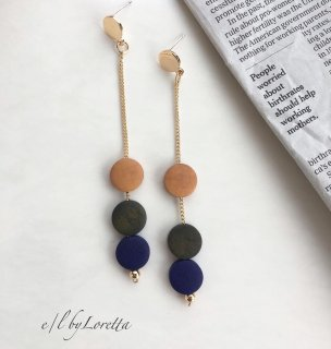 Color wood chain pierce(Navy)