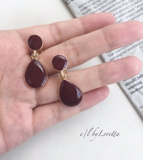 Color drop pierce/earring(Bordeaux)