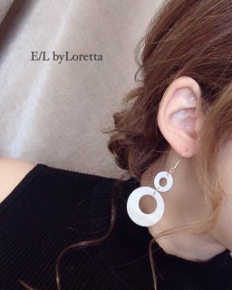 Shell w ring pierce/earring