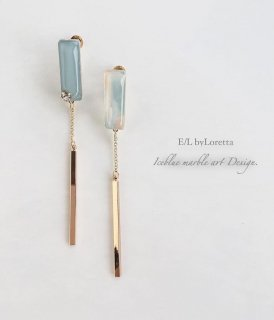 Art chain stick pierce/earring(Ice blue)