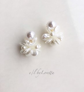 Shell flower pearl pierce/earring
