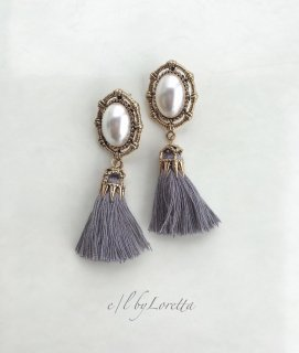 Pearl tassel pierce(Gray)
