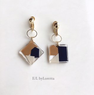Asymmetry square color mosaic pierce/earring(Navy×Orange)