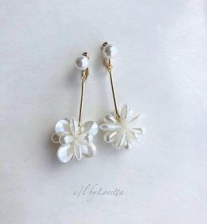Shell flower stick pierce/earring