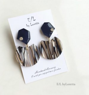 KAKERA marble stripe pierce/earring(Navy)