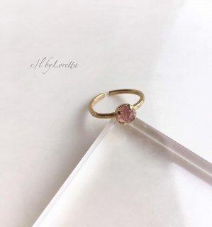 ストロベリークォーツ 真鍮 hammered Ring