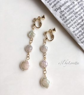 3連 shell pierce/earring