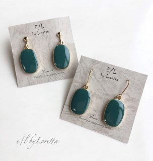 Oval color pierce/earring(Green)
