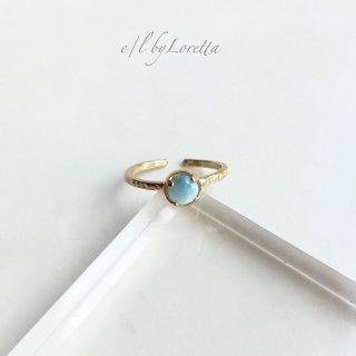 ラリマー 真鍮 hammered Ring
