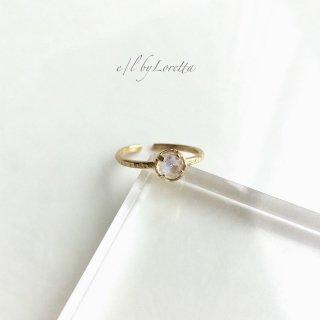 レインボームーンストーン 真鍮 hammered Ring