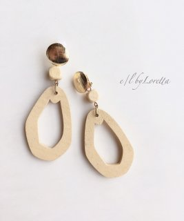 Gold plate wood hoop pierce/earring(Beige)