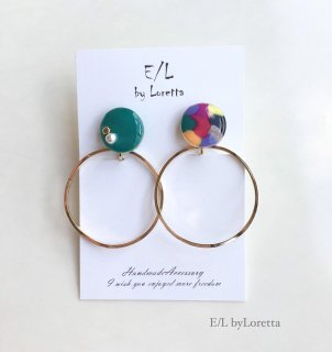 Mini circle marble hoop pierce/earring(Green×Mix)