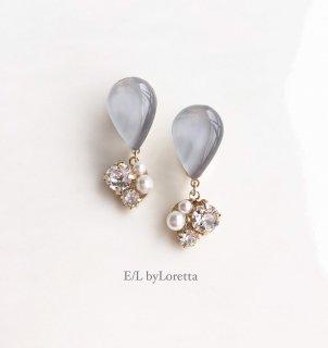 Color shizuku bijou pierce/earring(Gray)
