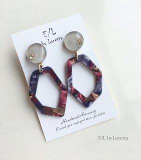 Marble KAKERA hoop pierce/earring(Beige)