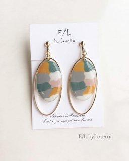 Marble oval hoop pierce/earring(Marble×Marble)