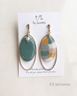 Marble oval hoop pierce/earring(Marble×Green)