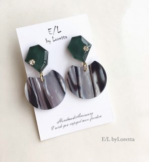 KAKERA marble stripe pierce/earring(Green)