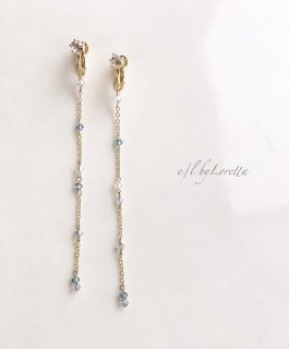SWAROVSKI crystal chain pierce/earring(Indian Sapphire Mix)
