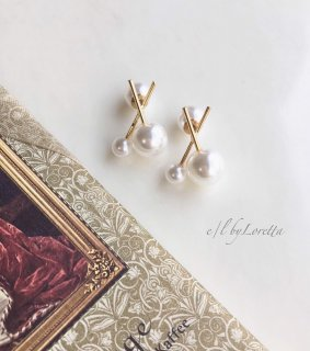 Cross stick pearl pierce