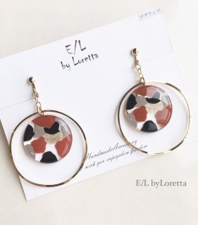 Circle marble hoop pierce/earring