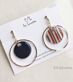 Circle big hoop stripe pierce/earring(Stripe×Navy)