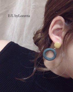 Circle corduroy hoop pierce(Green)