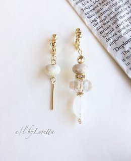 Asymmetry orient beads pierce/earring(White)
