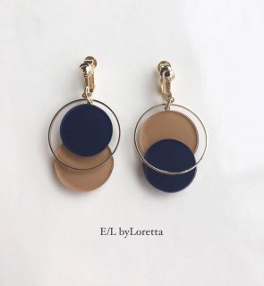 Asymmetry color pallet pierce/earring(Navy×Mustard)