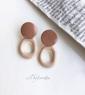 Color hoop pierce(Beige)