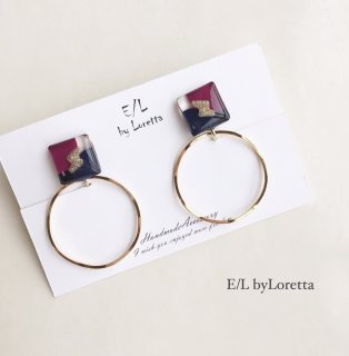3color square hoop pierce/earring(Purple×Navy)
