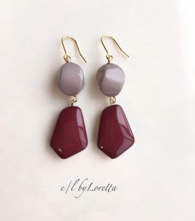 【10/22(tue)21:00〜Order Start.】Bi-color beads pierce/earring(Bordeaux)