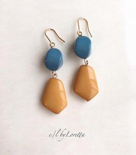 【10/22(tue)21:00〜Order Start.】Bi-color beads pierce/earring(Orange)