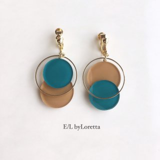 Asymmetry color pallet pierce/earring(Green × Mustard)