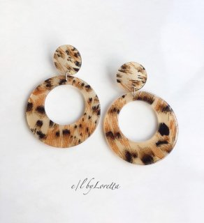 Leopard hoop pierce/earring